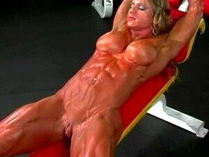 Massa Muscular Treino Ginásio Bodybuilder Feminino Rasgado Porn