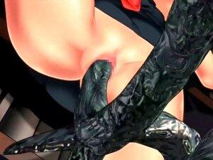 A Miúda 3d Hentai é Duplamente Fodida Por Tentáculos. Big Titted Hentai Teen é Duplamente Fodido Por Tentáculos Enormes Porn